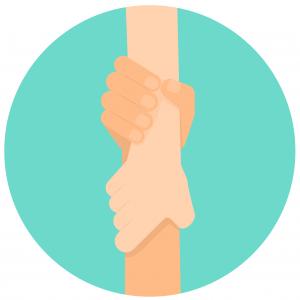 Kahden eri henkilön kädet kietoutuneina toisiinsa. Kuvaa yhteistyötä, auttamista.