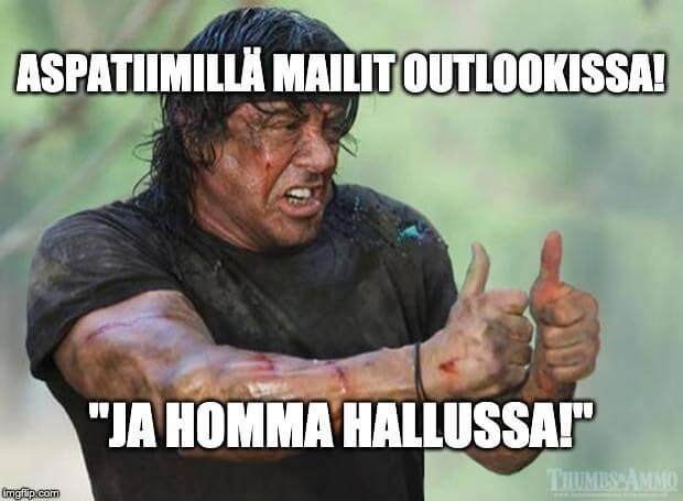 Sylvester Stallone: Mailit outlookissa - homma hallussa.